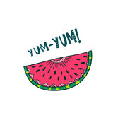 Het ontwerp van de watermeloen yum yum kaart Royalty-vrije Stock Afbeeldingen