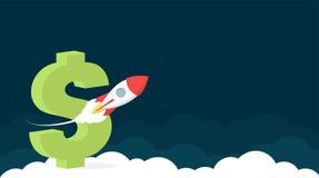 Het Ontwerp van de websitekopbal met Dollarteken en Rocket Launch royalty-vrije illustratie