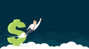 Het Ontwerp van de websitekopbal met Zakenman And Dollar Sign vector illustratie