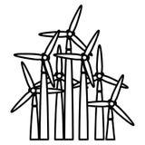 het ontwerp van de windmolen stock illustratie