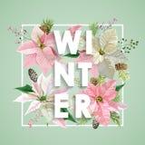 Het Ontwerp van de winterkerstmis in Vector De winterbloemen met Pijnbomen Stock Afbeelding