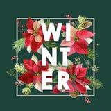 Het Ontwerp van de winterkerstmis in Vector De winterbloemen met Pijnbomen Stock Afbeeldingen