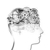 Het ontwerp van hersenen door radertjes en toestellen Stock Foto's