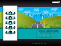 Het ontwerp van het bedrijfswebsitemalplaatje met wegbeeld vector illustratie