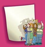 Het ontwerp van het beeldverhaal met tienersgroep royalty-vrije illustratie