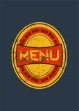 Het ontwerp van het biermenu met retro bieretiket De uitstekende vectorillustratie van de grungestijl Stock Foto