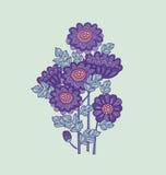 Het ontwerp van het de kaartmalplaatje van de chrysantenbloem Stock Afbeelding