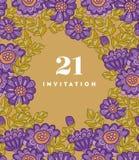Het ontwerp van het de kaartmalplaatje van de chrysantenbloem Royalty-vrije Stock Foto