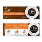 Het ontwerp van het de kortingsmalplaatje van de koffiecoupon Royalty-vrije Stock Afbeeldingen