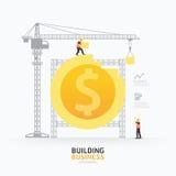 Het ontwerp van het de vormmalplaatje Infographic van het bedrijfsdollarmuntstuk De bouw vector illustratie