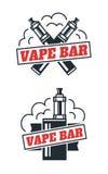 Het ontwerp van het de winkelembleem van de Vapebar Geïsoleerde witte achtergrond Stock Afbeeldingen