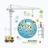 Het ontwerp van het de zorgmalplaatje van de Infographicaard de bouw bewaart de wereld stock illustratie