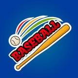 Het ontwerp van het honkbalembleem met het bewegen van bal en houten knuppelvector Stock Afbeelding