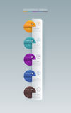 Het ontwerp van het Infographicetiket met pictogrammen en 5 opties royalty-vrije illustratie