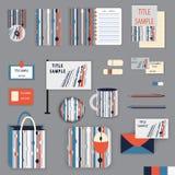 Het ontwerp van het kantoorbehoeftenmalplaatje met oranje en grijze ornamentelementen Stock Afbeeldingen