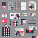 Het ontwerp van het kantoorbehoeftenmalplaatje met roze en grijze ornamentelementen Stock Afbeeldingen