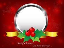 Het ontwerp van het Kerstmiskader op sneeuwvlokachtergrond Stock Foto's