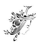 Het ontwerp van het meisje en van de vogel vector illustratie