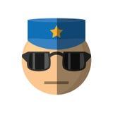 het ontwerp van het politieagent emoticon beeldverhaal Stock Foto