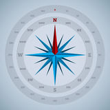 het ontwerp van het 16 puntkompas met graden Stock Afbeeldingen