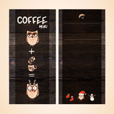 Het ontwerp van het restaurantmenu op houten achtergrond Vectormalplaatje voor koffie, koffiehuis, bar Uitstekende houten textuur Royalty-vrije Stock Fotografie