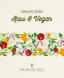 Het ontwerp van het ruwe en veganistvoedsel met plantaardige decoratie Royalty-vrije Stock Foto's