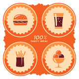 Het ontwerp van het snel voedseletiket Stock Foto's