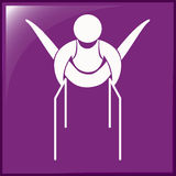Het ontwerp van het sportpictogram voor gymnastiek met dubbele bars royalty-vrije illustratie