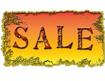 Het Ontwerp van het Teken van de verkoop op Gouden Achtergrond Stock Afbeelding