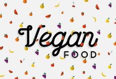 Het ontwerp van het veganistvoedsel met kleurrijke fruitelementen Stock Foto