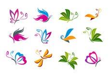 Het ontwerp van het vlinderembleem Stock Foto