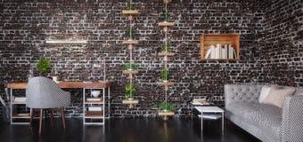 Het ontwerp van het huisbureau, moderne werkruimteruimte stock foto