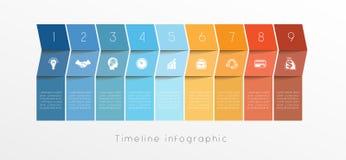 Het ontwerp van Infographic van de malplaatjechronologie voor positie negen Royalty-vrije Stock Foto