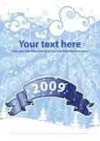 Het ontwerp van Kerstmis op de blauwe achtergrond. Royalty-vrije Stock Afbeelding