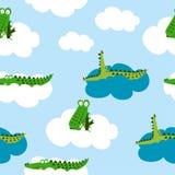 Het ontwerp van het krokodilpatroon met verscheidene alligators royalty-vrije illustratie