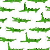 Het ontwerp van het krokodilpatroon met verscheidene alligators - grappige hand getrokken krabbel, naadloos patroon vector illustratie