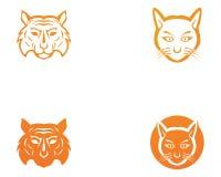 Het ontwerp van het het malplaatjepictogram van het tijgerembleem Stock Foto's