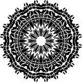Het ontwerp van Mandela met zwart ontwerp de bloemenillustratie van de kunstmandala van de bladlijn royalty-vrije illustratie