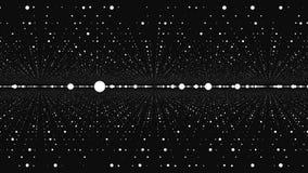 Het ontwerp van het puntdeeltje, abstracte fractal puntmeetkunde Virtuele artistieke kosmos, de dynamische ruimte van de perspect stock illustratie