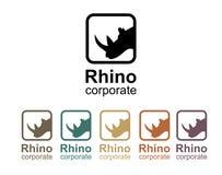 Het ontwerp van het rinocerosembleem Stock Afbeeldingen
