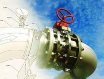 Het ontwerp van schetsleidingen mengde industrieel materiaal stock illustratie