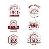 Het ontwerp van het snel Voedselembleem, retro beeldverhaalstijl Illustratie van taco de moderne pictogrammen royalty-vrije illustratie
