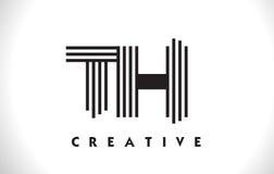 Het Ontwerp van Th Logo Letter With Black Lines Lijnbrief Vectorillus Royalty-vrije Stock Foto