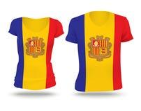 Het ontwerp van het vlagoverhemd van Andorra stock illustratie
