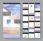 Het ontwerp van het websitemalplaatje met interfaceelementen Stock Foto