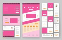 Het ontwerp van het websitemalplaatje met interfaceelementen Royalty-vrije Stock Afbeelding