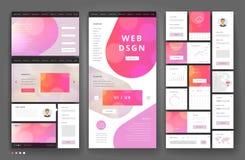 Het ontwerp van het websitemalplaatje met interfaceelementen Royalty-vrije Stock Foto's