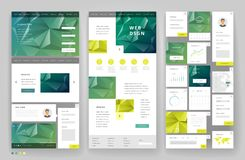 Het ontwerp van het websitemalplaatje met interfaceelementen Stock Afbeelding