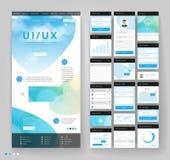 Het ontwerp van het websitemalplaatje met interfaceelementen Stock Fotografie