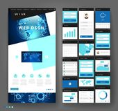 Het ontwerp van het websitemalplaatje met interfaceelementen Stock Afbeeldingen